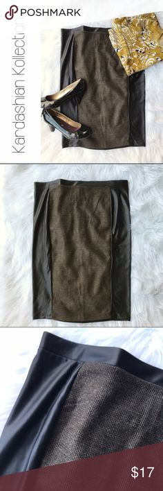 "Kardashian Kollection Pleather Tweed Pencil Skirt Kardashian Kollection Pleather and Tweed Stretch Pencil Skirt XL  Lightweight and stretchy. Excellent condition.  One tiny hole on the waistband, pictured.  Tweed panel front, plain black Back. Size XL.   Measurements, lying flat:  🔸Waist: 18"" 🔸Length: 24.5""  B6 Kardashian Kollection Skirts Pencil"
