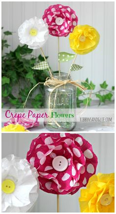 How to make Crepe Paper Flowers. All you need is pretty Crepe Paper and hot glue. Such an inexpensive and pretty way to decorate!