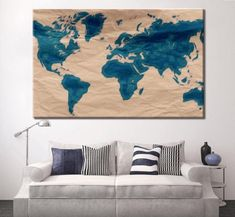 Iron Clad 1 Year - 100% Satisfaction Guarantee, 3-5 Business Day Shipping & Free Shipping (48 Continental US)! Blue World Map Wall Art, world map push pin Large watercolor wall art world map poster wall dorm decor art print, Living room and office decor 100% Satisfaction, Money Back Guarantee. If you don't like it, return it for a full refund. I love my art and I'm confident you will too. That's why I'm offering this guarantee. I want to make this a RISK FREE purchase for you. Prints are pro World Map Decor, World Map Wall Art, Art World, World Map Poster, Map Posters, Office Decor, Office Art, Globe Decor, Map Wall Decor