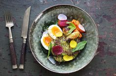 Pea, Millet & Mint Fritters with Rainbow Chard, Sweet Potato & Soft Boiled Egg