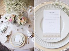 Elegant wedding table setting, with baby's breath, lace, and silver accents #white #wedding #tablesetting