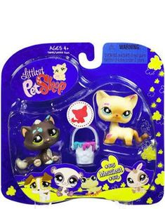 Amazon.com: Littlest Pet Shop Assortment 'A' Series 2 Collectible Figure Cat and Cat: Toys & Games