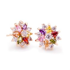 Real Gold Plated Gold Star Stud Earrings with Multicolor Zircon Stone For Women Birthday Gift Jewelry