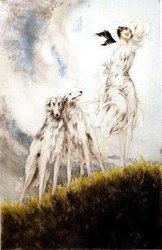 I love Borzoi dogs in art. Louis Icart 'Joy Of Life' 1929 Borzoi Dog, Whippets, Harlem Renaissance, Illustrations, Illustration Art, Russian Wolfhound, Most Famous Artists, Art Deco, Art Nouveau