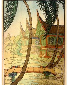 Rice Barns, Sumatra Artist: Bertha Lum Date: 1936 Location: Not on display Century: Century AD Media: Color Woodcut Dimensions: x cm (image); x cm (sheet) Japanese Prints, Japanese Art, Illustrations, Illustration Art, Minangkabau, Art Asiatique, Japanese Painting, Woodblock Print, American Artists
