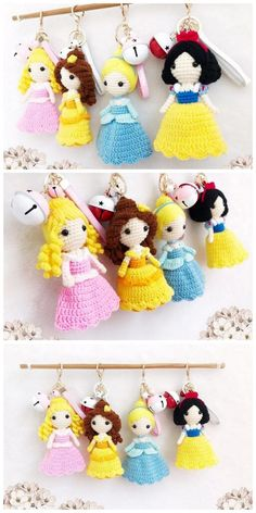 Crochet Parrot, Crochet Mermaid, Crochet Amigurumi Free Patterns, Crochet Doll Pattern, Quick Crochet, Free Crochet, Crochet Princess, Crochet Keychain, Flower Embroidery Designs