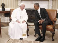 President Barack Obama talks with Pope Francis during a meeting in the Oval Office of the White House in Washington, on Sept. 23, 2015.