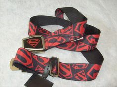 DC SUPERMAN SEATBELT STYLE RED & BLACK ADJUSTABLE POLYESTER BELT OSFM SPENCER'S #BIOWORLD