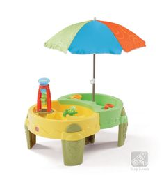Step2 Shady Oasis Sand & Water Play Table is now available in new colors. Pours water into the wide funnel activating the water wheel for a splashing good time!