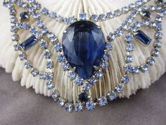 Vintage Necklace Blue Rhinestone Gorgeous by duSayeJewelry on Etsy, $110.00