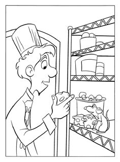 coloring page Ratatouille on Kids-n-Fun. At Kids-n-Fun you will always find the nicest coloring pages first! Ariel Coloring Pages, Disney Coloring Sheets, Cool Coloring Pages, Printable Coloring Pages, Coloring Pages For Kids, Coloring Books, Kids Coloring, Disney Pixar, Disney Art