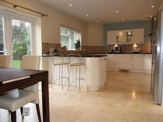photo of layout match open plan beige brown kitchen kitchen diner with floor tiles