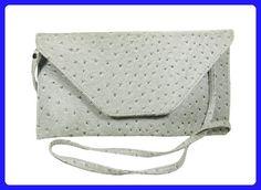 Silver Faux Ostrich Leather Clutch Evening Bag, Shoulder Bag, Handbag - Shoulder bags (*Amazon Partner-Link)