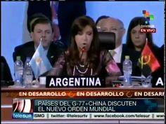 """""""No puede ser posible que la suerte de nuestras economías quede en manos de calificadoras de riesgo. Estos organismos toman decisiones y generan crisis que ponen en riesgo el trabajo y la producción"""" -- Discurso de CFK en la Cumbre G77+China, realizada en Santa Cruz, Bolivia."""