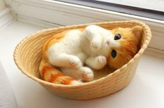 needle felted cat realistic cat sculpture Miniature by Softhug