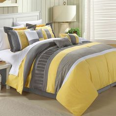 Wake up your bedroom decor by featuring the Euphrasia 8 Piece Comforter Set by Chic Home . This gray and sunny yellow comforter set features geometric. Yellow Comforter Set, Queen Comforter Sets, Bedding Sets, Daybed Bedding, Elegant Home Decor, Elegant Homes, Bed In A Bag, Luxury Bedding, Comforters