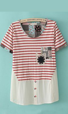 Stitching cotton shirt Stitching cotton shirt red