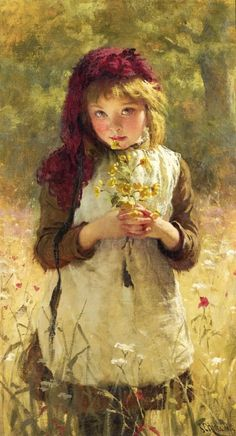 George Elgar Hicks (British painter) 1824 - 1914 Buttercups, 1889 oil on canvas 91 x 51 cm. x 20 in.) signed and dated l. Art And Illustration, Illustrations, Paintings I Love, Beautiful Paintings, Pastel Paintings, Art Paintings, Art Amour, Renoir, Love Art