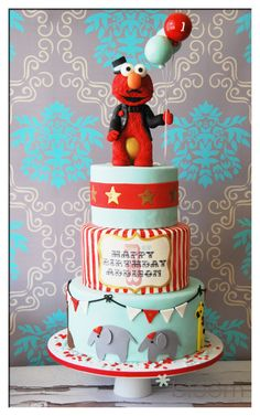 Circus Cake..I actually would like it without the Elmo on top