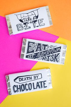 Free Printable Chocolate Bar Wrappers for Halloween.