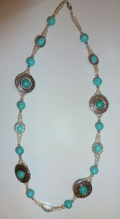 Silver & Turquoise Stone Necklace (made by Patricia Atkinson)
