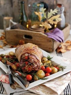 delicious Welsh Lamb shoulder stuffed with tomatoes, olives, garlic ...