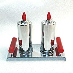 Chrome and Red Bakelite Candle Salt and Pepper Shakers in Holder Tray