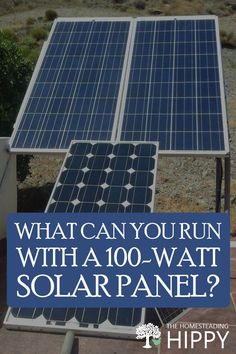 Figuring out what you can or cannot power on a 100w, 200w, or a 300w solar panel? Here are the lists of devices for each. #greenenergy #solarpanels 100 Watt Solar Panel, Solar Panels, Incandescent Light Bulb, Electric Oven, Homesteading, Canning, Outdoor Decor, Sun Panels, Solar Panel Lights