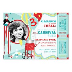 Candy Birthday Party Invitations Carnival Stilt Walker & Cotton Candy Birthday Card