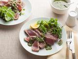 Grilled Tuna With Basil Pesto - yum - good use of all the homemade basil pesto & tuna loin in the freezer...