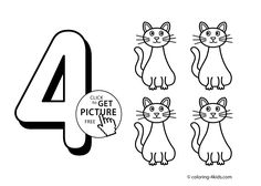 4 numbers coloring pages for kids, printable free digits coloring books