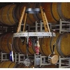 Wine Barrel Rings for Sale | Wine2Night Barrique Kitchen Pot Rack from Wine Barrel Staves