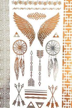 Wings Arrows & Dream Catchers Metallic Tribe Temporary Tattoos
