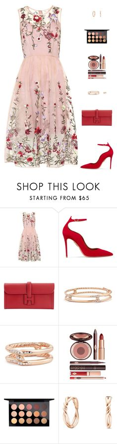 """Untitled #5064"" by mdmsb on Polyvore featuring Aquazzura, Hermès, David Yurman, Charlotte Tilbury and MAC Cosmetics"