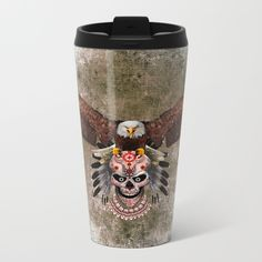 indian native Flaying Eagle sugar Skull METAL TRAVEL MUG #metaltravelmug #mug #travel #metal #thedayofthedead #halloween #indianchief #chief #owls #sugarskull #skull #pattern #owl #nativeamerican #native #indian #diadelosmuertos #muertes #mexicanart #dayofdead #mexicoskull #mexicosugarskull