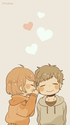 Discovered by Romantica bohemia. Find images and videos about love, cute and couple on We Heart It - the app to get lost in what you love. Cute Chibi Couple, Cute Couple Cartoon, Anime Love Couple, Cute Anime Couples, Animes Wallpapers, Cute Wallpapers, Kawaii Art, Kawaii Anime, Tsurezure Children