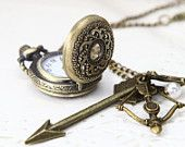 Hunger Games Inspired Arrow,Mockingjay,and Peeta Pearl Victorian big size Pocket Watch locket Necklace