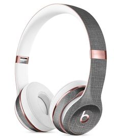 White and Gray Scratched Fabric Surface Full-Body Skin Kit for the Beats by Dre Solo 3 Wireless Headphones