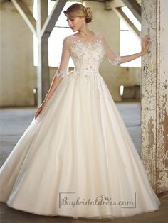 Illusion Boat Neckline Three-Quarter Sleeves Embellished Wedding Dresses