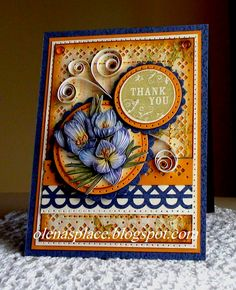 Another thank you card - love the mix in of quilling for dimension