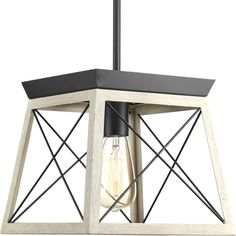 This collection features a classic pattern commonly found on barn or farmhouse doors and gates. The simple geometric form features a faux-painted wood enclosure to frame vintage-style light bulbs.