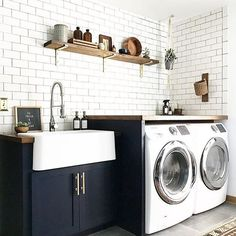 """It's been a while since I peeped the #ambularinteriorsaintgotnothingonme feed and OMG you guys, so much talent!! This laundry room from @brepurposed instantly caught my eye, because... DUH, it's great and also because I currently am lusting for a laundry room in my own life!!! Our """"laundry room"""" is the nasty garage and until we add one on, it's all I got. Keep the posts coming and I promise to repost my faves more!!"""