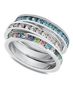 Traditions Sterling Silver Rings, Channel-Set Swarovski Crystal Rings - Rings - Jewelry & Watches - Macy's