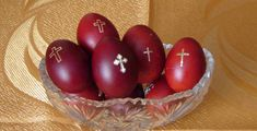 Traditional Red Greek Orthodox eggs - nice idea. I am going to look for cross stickers and stick them on my red eggs this year!
