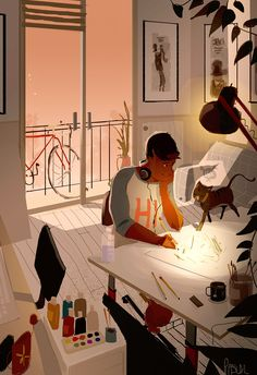 Summer Nights in the studio. #pascalcampion Still getting back into the flow of things….