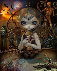 Unseelie Court Famine gothic fairy by Jasmine Becket-Griffith fairy skeleton bones four horseman of the Apocalypse unseelie court new contemporary art