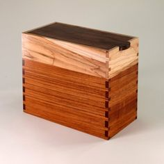 Keepsake Box of Walnut, Teak, and Maple by:-JM Craftworks