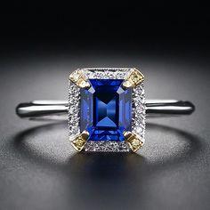 1.48 Carat Emerald-Cut Sapphire and Diamond Estate Ring - 30-1-4853 - Lang Antiques