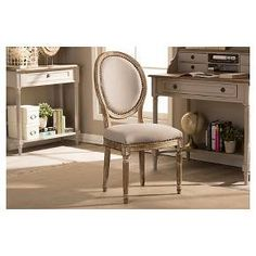 Clairette Wood Traditional French Accent Chair Beige - Baxton Studio : Target