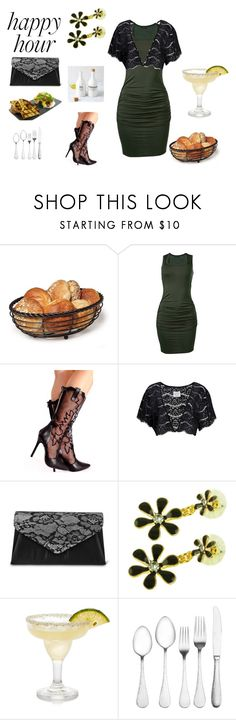 """""""Bottoms Up: Happy Hour"""" by ilona-giladi ❤ liked on Polyvore featuring Venus, Elodie, Gunne Sax By Jessica McClintock, Kate Marie, Towle, West Elm and happyhour"""